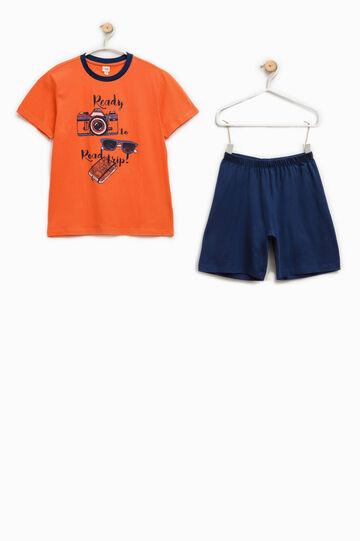 Pijama 100% Biocotton con estampado, Azul/Naranja, hi-res