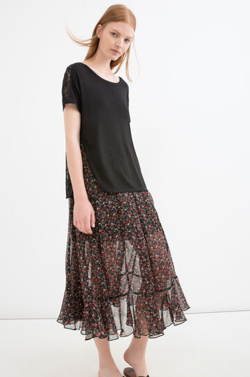 Rayon blend T-shirt with lace, Black, hi-res