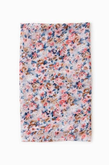 Floral print pashmina, Grey, hi-res