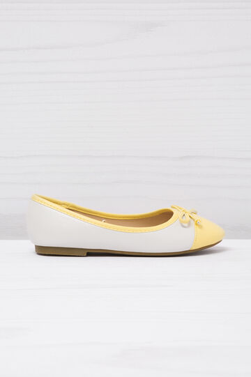 Round toe leather-look ballerina flats