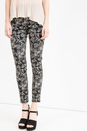 Patterned viscose trousers with zip on the side, Black, hi-res