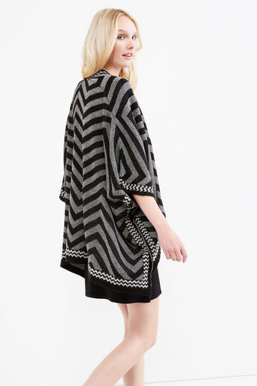 Geometric pattern knit cloak, Black/Grey, hi-res