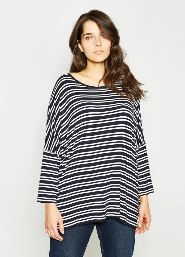 Curvy striped T-shirt in 100% viscose | OVS