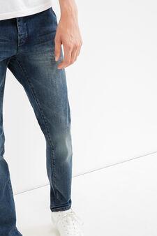 Jeans slim fit effetto used stretch, Lavaggio scuro, hi-res