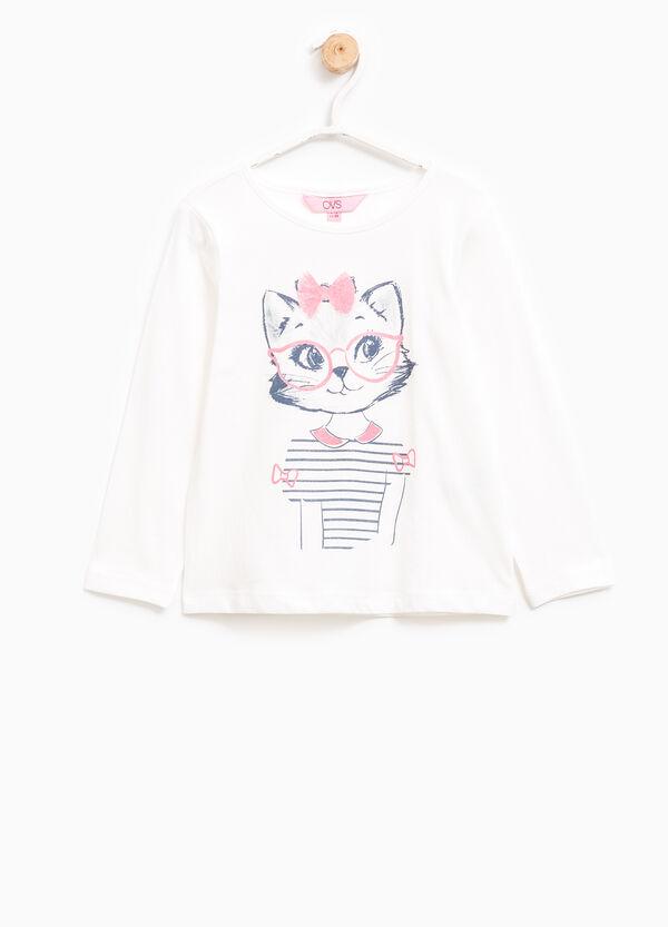 T-shirt cotone con stampa glitterata | OVS