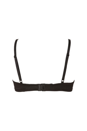 Two-pack cotton triangle bras, Black/White, hi-res