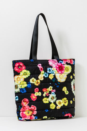 Quilted shoulder bag with print, Black, hi-res