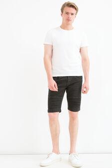 Bermuda di jeans stretch cinque tasche, Nero, hi-res