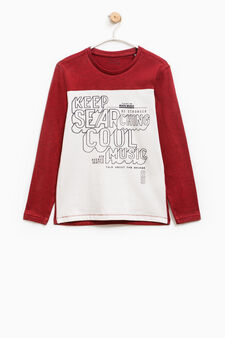 T-shirt with printed lettering and long sleeves, White/Red, hi-res