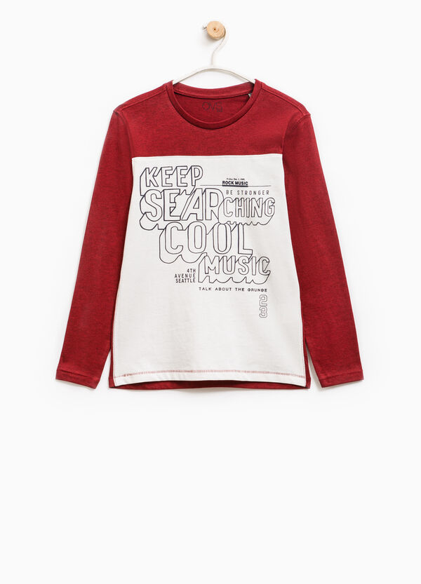 T-shirt with printed lettering and long sleeves | OVS