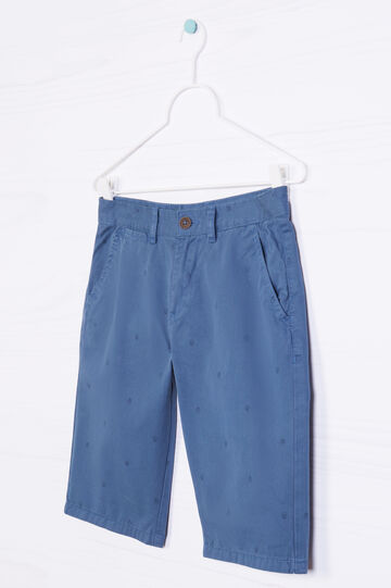 100% cotton Bermuda chinos with pattern, Deep Blue, hi-res