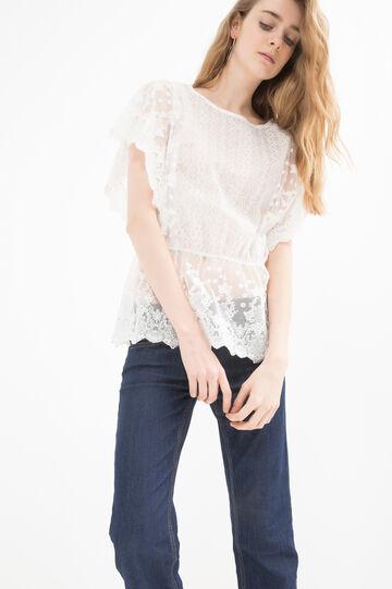 Cotton blend blouse with lace, White, hi-res