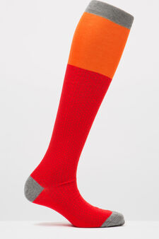 Full-length socks with Rumford pattern, Red, hi-res