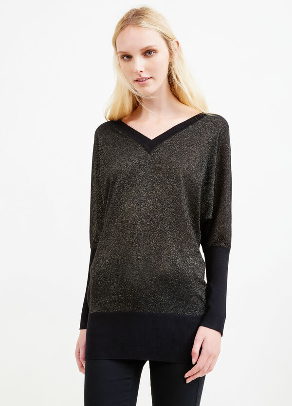 Knitted V-neck and lurex pullover   OVS