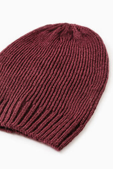 Knitted beanie cap, Claret Red, hi-res