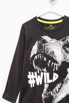 T-shirt scollo a costina e maxi stampa, Nero, hi-res