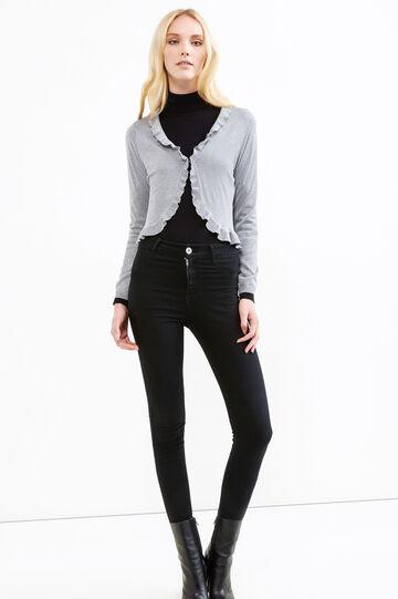 Viscose and lurex cardigan with frills, Grey, hi-res