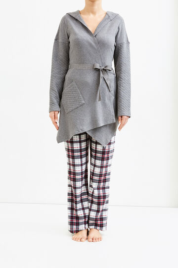 Cotton dressing gown with diamond weave, Grey Marl, hi-res
