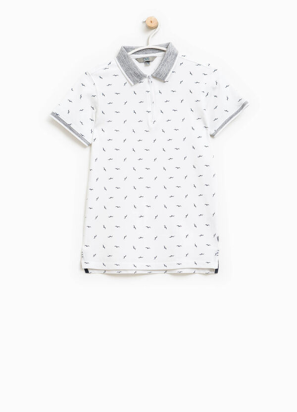 Cotton polo shirt with all-over bird print | OVS