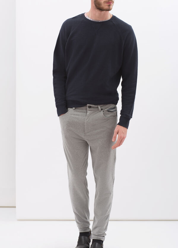 Denim-cut trousers in stretch fleece | OVS