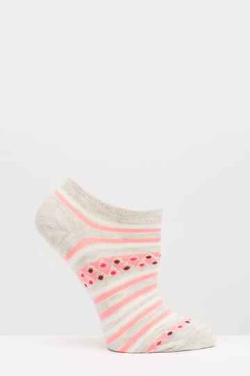 Two-pair pack cotton blend socks, Grey/Pink, hi-res