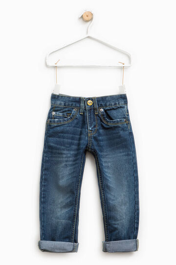 Worn-effect jeans with turn-ups