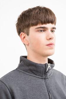 Cotton blend high neck sweatshirt., Dark Grey, hi-res