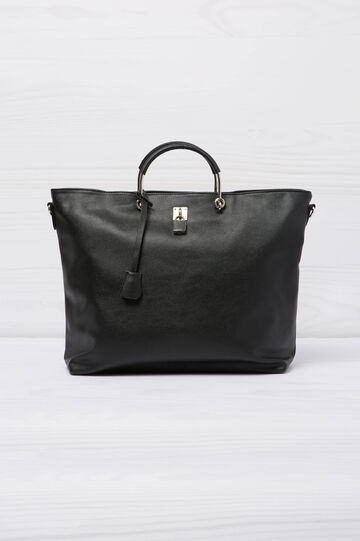Leather-look bag with lock, Black, hi-res