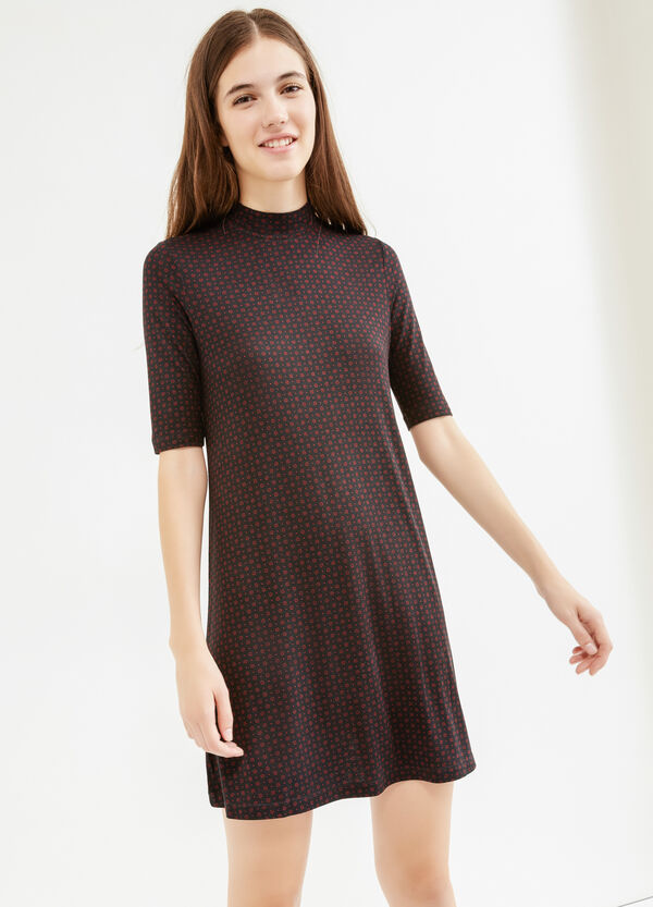 Stretch rayon dress with all-over print | OVS