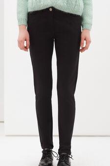 Pantaloni cotone stretch tinta unita, Nero, hi-res