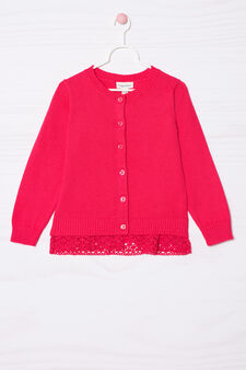 100% cotton cardigan with lace, Fuchsia, hi-res