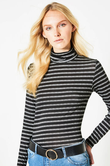 Striped stretch T-shirt with high neck, Black/White, hi-res