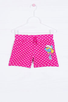 Stretch shorts with Smurfette print, Pink, hi-res