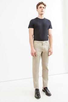 100% cotton trousers with crease, Dove Grey, hi-res