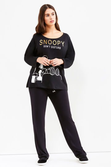 T-shirt stretch stampa Snoopy Curvy, Nero, hi-res