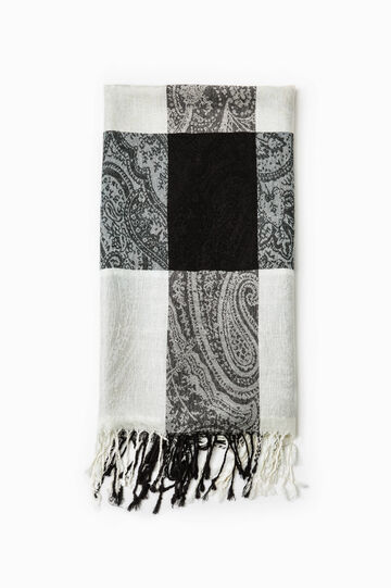 Jacquard viscose blend scarf., Black/White, hi-res