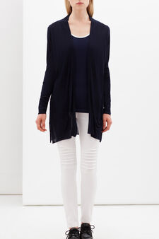 Long cardigan with pockets, White/Blue, hi-res