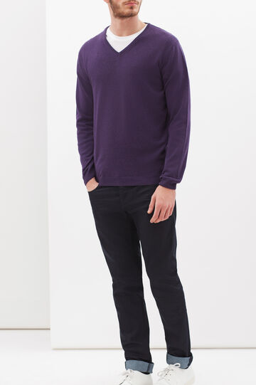 V-neck pullover in silk and cashmere, Aubergine, hi-res