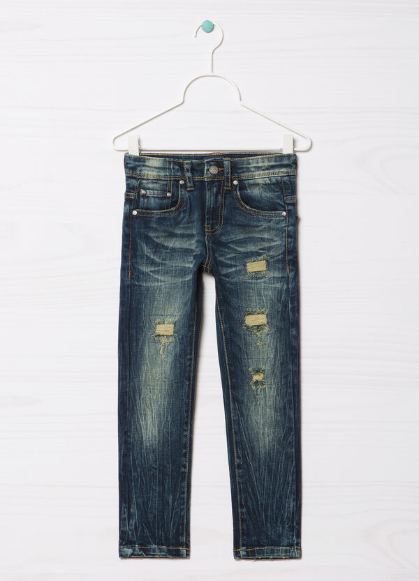 Blue Black worn-effect jeans with rips | OVS
