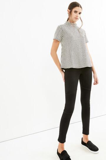 Jeans skinny fit stretch tinta unita, Nero, hi-res