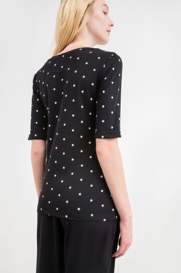 V-neck cotton T-shirt with star pattern, Black, hi-res