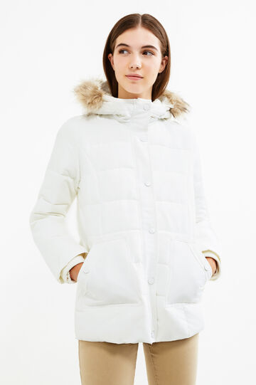 Down jacket with removable fur, White, hi-res
