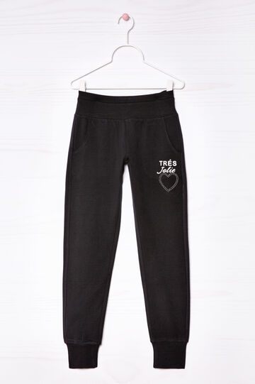 Stretch cotton joggers, Black, hi-res