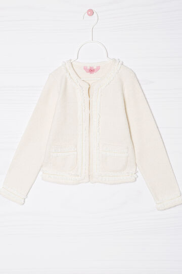 Cotton blend fleece jacket., Milky White, hi-res