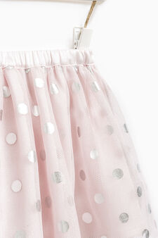 Tulle skirt with polka dot print., Light Pink, hi-res