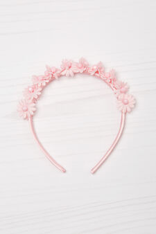 Solid colour hairband with flowers, Pink, hi-res