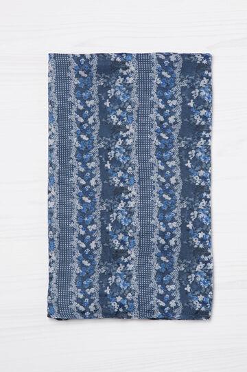 Floral and polka dot patterned scarf, Blue, hi-res