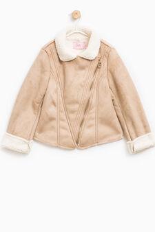 Faux suede jacket with zip, Beige, hi-res