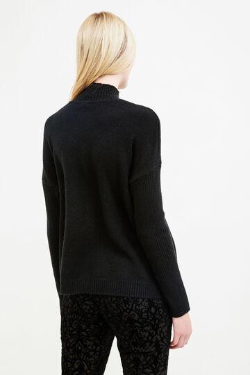 Lupetto tricot stretch con costina, Nero, hi-res