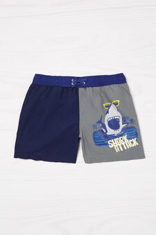 Two-tone printed swim boxer shorts, Blue/Grey, hi-res